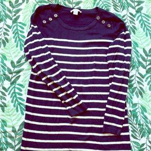 Navy striped tunic maternity sweater